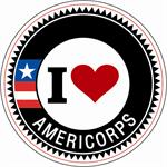 I Love AmeriCorps!!  100 Stickers Per Roll